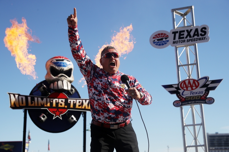 FORT WORTH, TX - NOVEMBER 04:  Grand Marshal Ret. Major Ed Pulido of Folds of Honor gives the command to fire engines prior to  the Monster Energy NASCAR Cup Series AAA Texas 500 at Texas Motor Speedway on November 4, 2018 in Fort Worth, Texas.  (Photo by Chris Graythen/Getty Images)