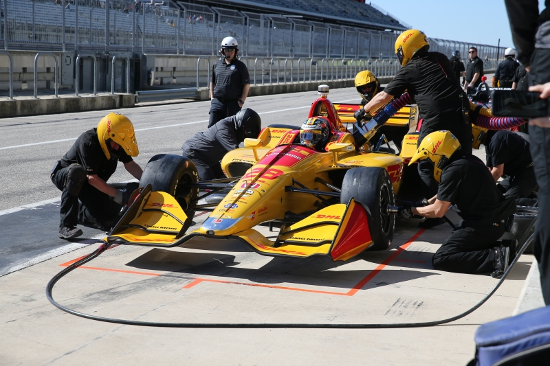 Andretti Autosport simulate a pit stop for Ryan Hunter-Reay on pit lane during the Open Test at Circuit of The Americas -- Photo by: Chris Jones