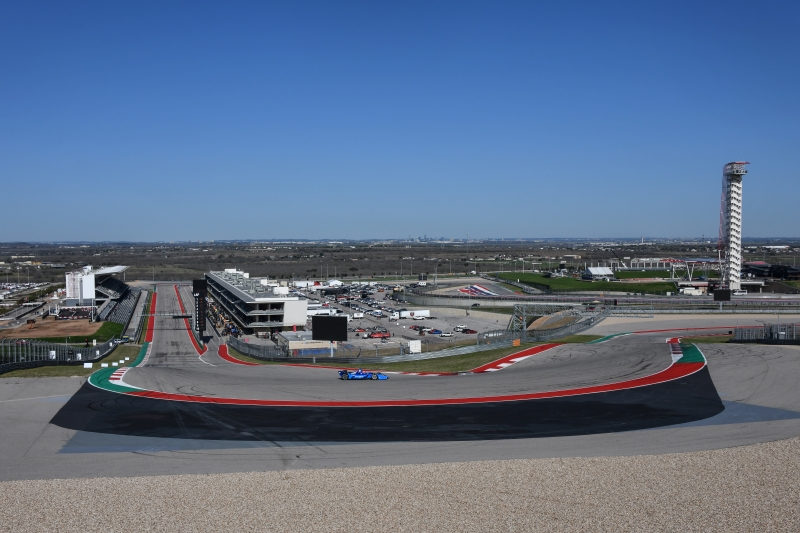 Felix Rosenqvist dives into Turn 1 during the Open Test at Circuit of The Americas -- Photo by: John Cote