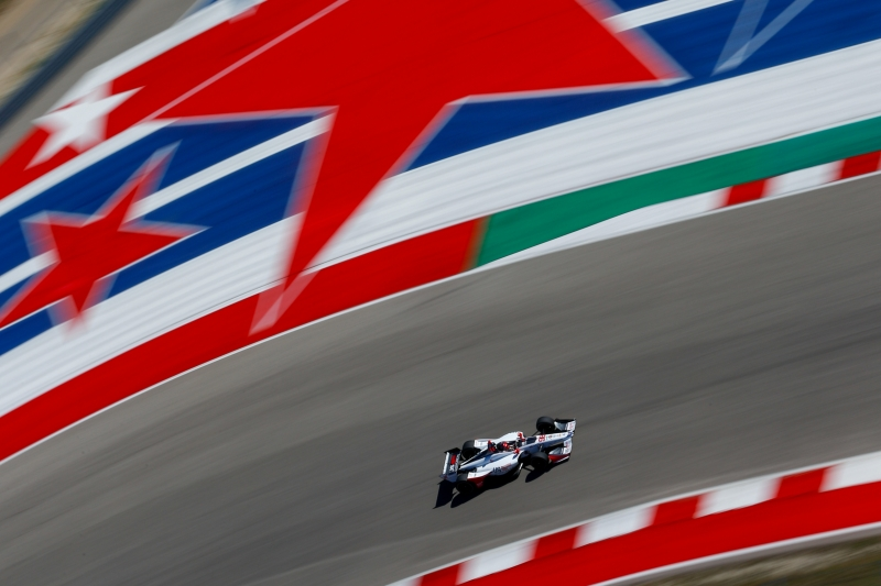 Marco Andretti races out of Turn 16 during the Open Test at Circuit of The Americas -- Photo by: Joe Skibinski