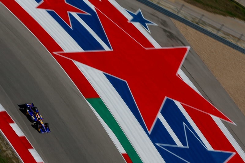 Alexander Rossi streaks out of Turn 16 during the Open Test at Circuit of The Americas -- Photo by: Joe Skibinski