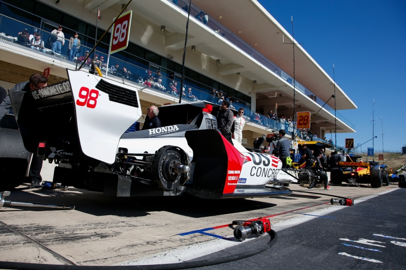 The No. 98 US Concrete Honda of Marco Andretti sits on pit lane during the Open Test at Circuit of The Americas -- Photo by: Joe Skibinski