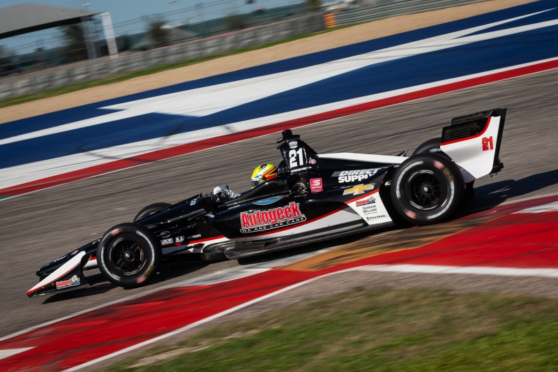 Spencer Pigot hammers the apex of Turn 12 during the Open Test at Circuit of The Americas -- Photo by: Stephen King