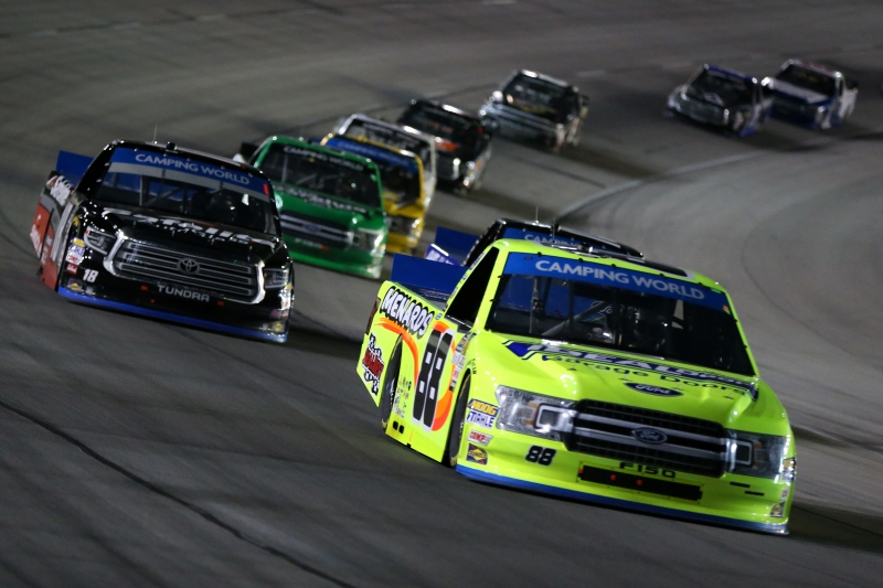<enter>during the NASCAR Camping World Truck Series JAG Metals 350 at Texas Motor Speedway on November 2, 2018 in Fort Worth, Texas.</enter>